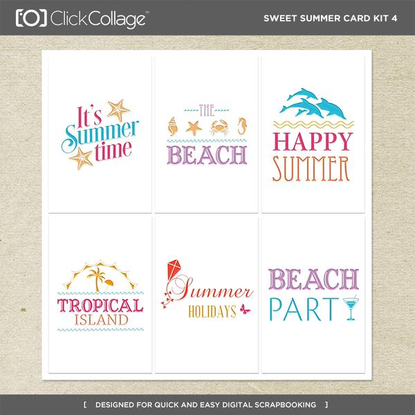 Sweet Summer Card Kit 4 Digital Art - Digital Scrapbooking Kits