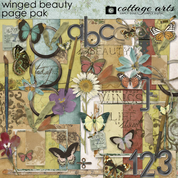 Winged Beauty Page Pak Digital Art - Digital Scrapbooking Kits