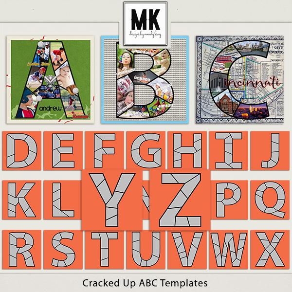 Cracked Up ABC's Digital Art - Digital Scrapbooking Kits