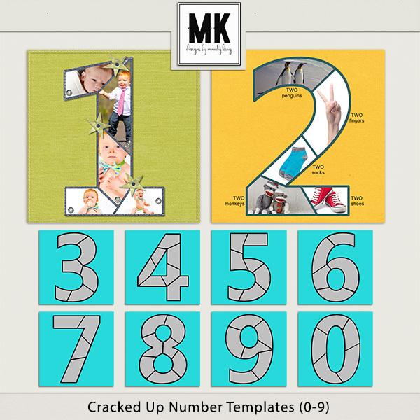Cracked Up Numbers Digital Art - Digital Scrapbooking Kits