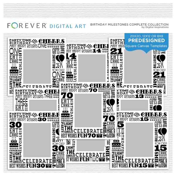 Birthday Milestones Collection Digital Art - Digital Scrapbooking Kits