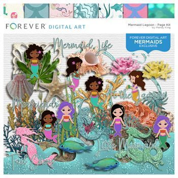 Mermaid Lagoon Digital Art - Digital Scrapbooking Kits