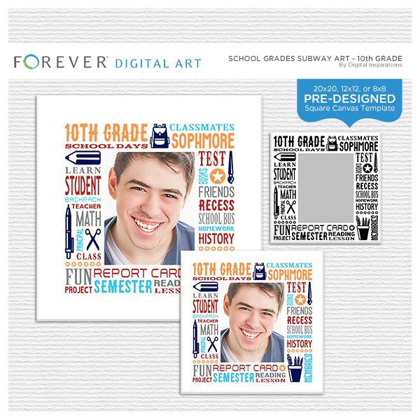 School Grades Subway Art - 10th Grade Digital Art - Digital Scrapbooking Kits