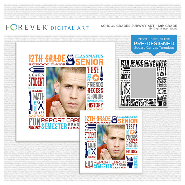 School Grades Subway Art - 12th Grade Digital Art - Digital Scrapbooking Kits