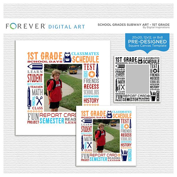 School Grades Subway Art - 1st Grade Digital Art - Digital Scrapbooking Kits