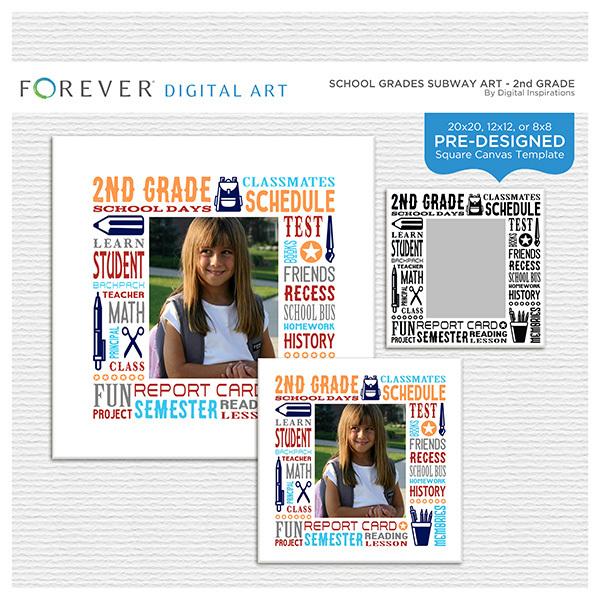 School Grades Subway Art - 2nd Grade Digital Art - Digital Scrapbooking Kits