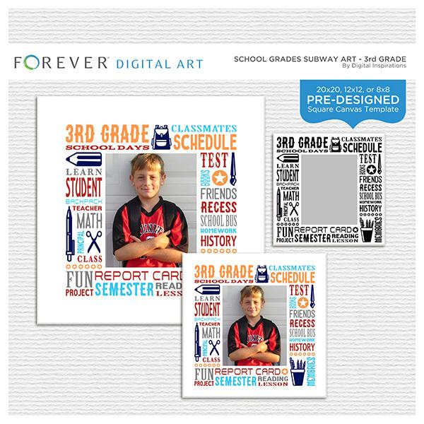 School Grades Subway Art - 3rd Grade Digital Art - Digital Scrapbooking Kits