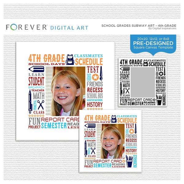 School Grades Subway Art - 4th Grade Digital Art - Digital Scrapbooking Kits
