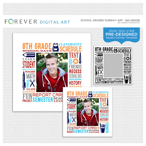 School Grades Subway Art - 8th Grade Digital Art - Digital Scrapbooking Kits