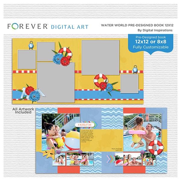 Water World Pre-designed Book 12x12 Digital Art - Digital Scrapbooking Kits