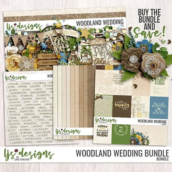 Woodland Wedding Bundle Digital Art - Digital Scrapbooking Kits