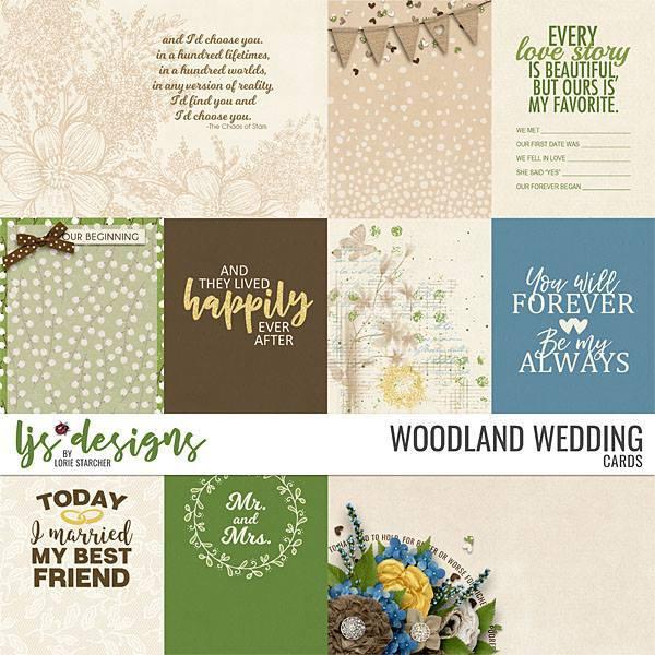 Woodland Wedding Cards Digital Art - Digital Scrapbooking Kits