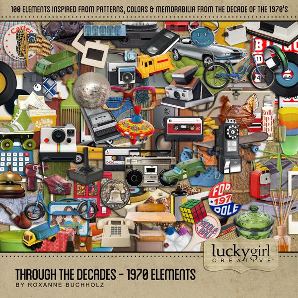 Through The Decades - 1970 Elements Digital Art - Digital Scrapbooking Kits