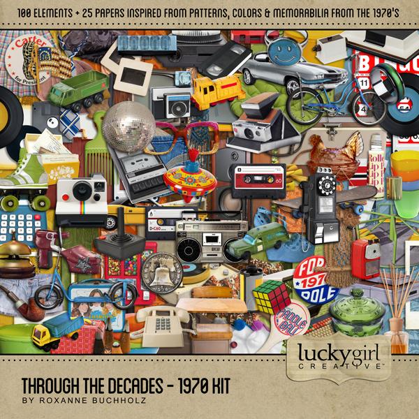 Through The Decades - 1970 Kit Digital Art - Digital Scrapbooking Kits