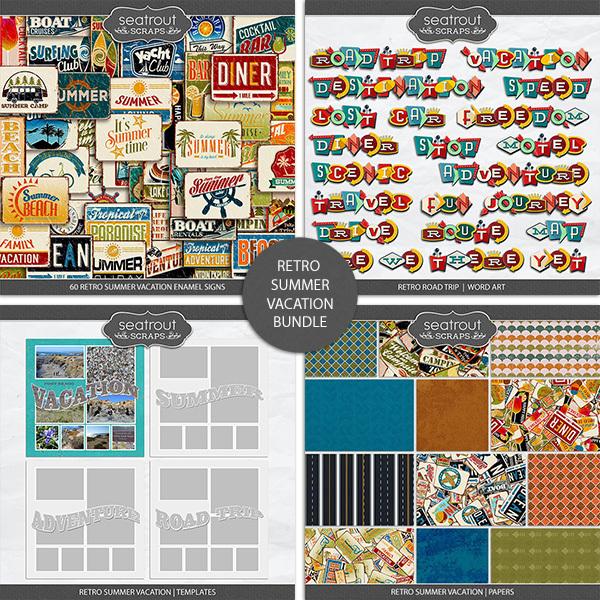 Retro Summer Vacation Bundle Digital Art - Digital Scrapbooking Kits