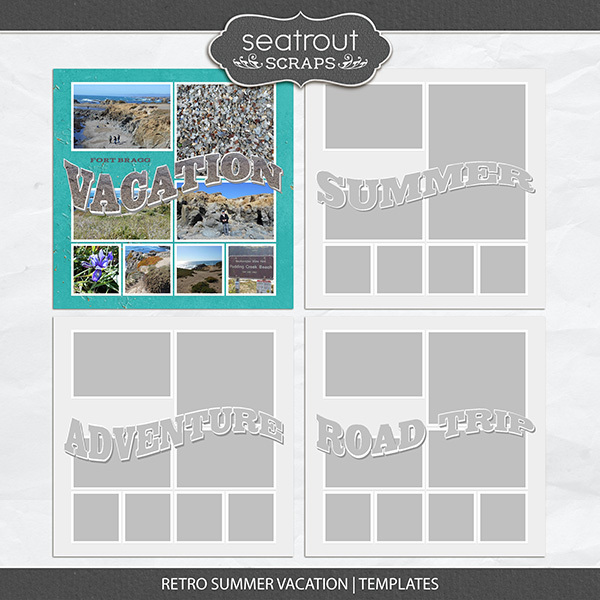Retro Summer Vacation Templates Digital Art - Digital Scrapbooking Kits