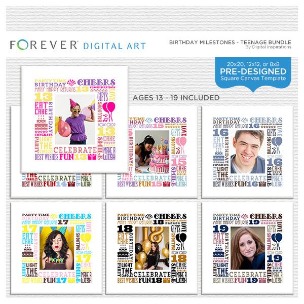 Birthday Milestones Teenage Bundle Digital Art - Digital Scrapbooking Kits