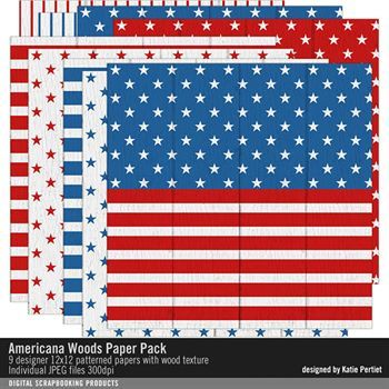 Americana Woods Paper Pack Digital Art - Digital Scrapbooking Kits