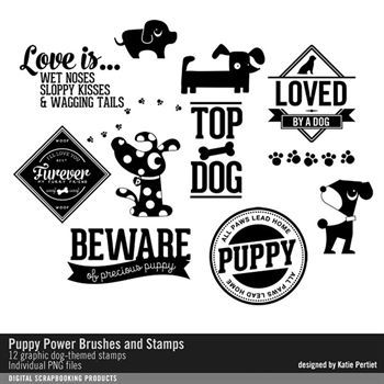 Puppy Power Brushes And Stamps Digital Art - Digital Scrapbooking Kits