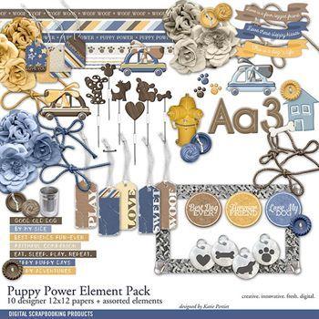 Puppy Power Element Pack Digital Art - Digital Scrapbooking Kits