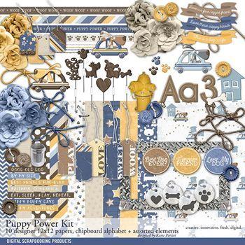 Puppy Power Scrapbooking Kit Digital Art - Digital Scrapbooking Kits