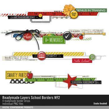 Readymade Layers School Borders No. 02 Digital Art - Digital Scrapbooking Kits