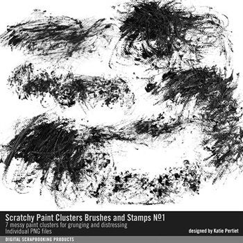 Scratchy Paint Clusters Brushes And Stamps No. 01