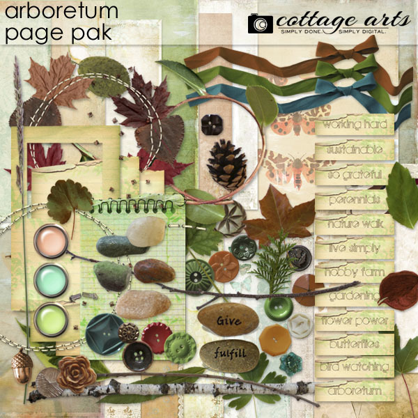 Arboretum Page Pak Digital Art - Digital Scrapbooking Kits