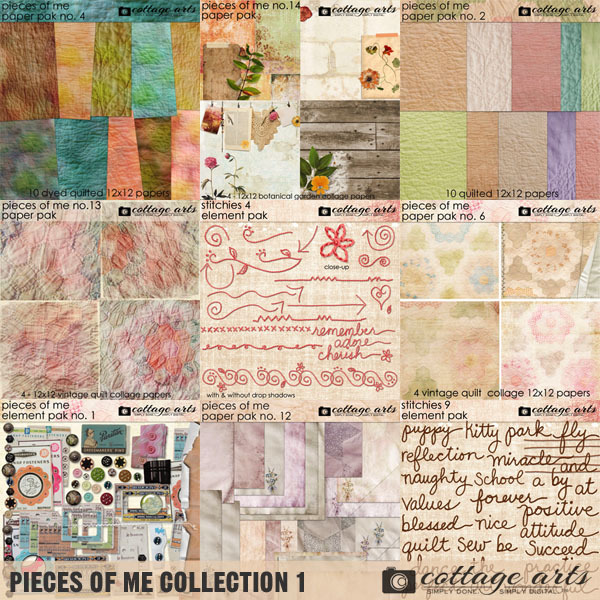 Pieces Of Me Collection 1 Digital Art - Digital Scrapbooking Kits