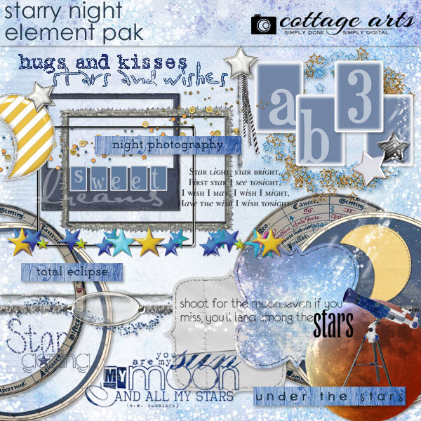 Starry Night Element Pak Digital Art - Digital Scrapbooking Kits