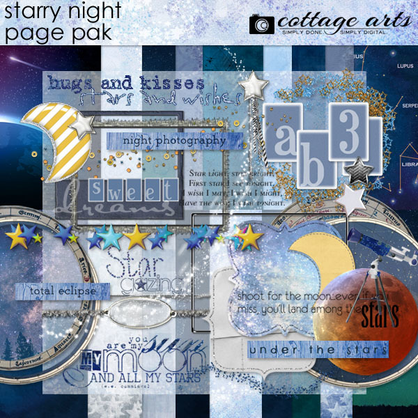 Starry Night Page Pak Digital Art - Digital Scrapbooking Kits