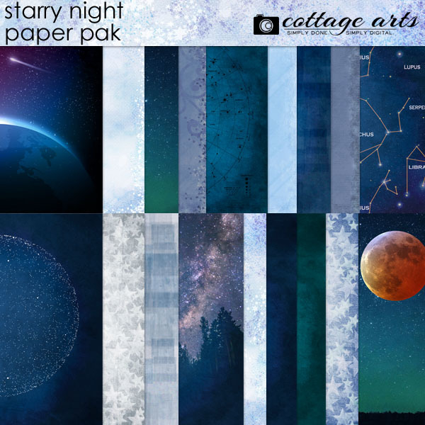 Starry Night Paper Pak Digital Art - Digital Scrapbooking Kits