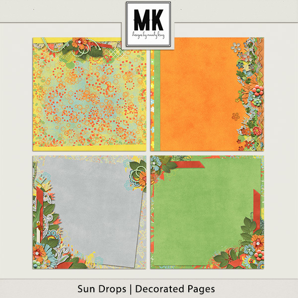 Sun Drops Collection - Decorated Papers Digital Art - Digital Scrapbooking Kits