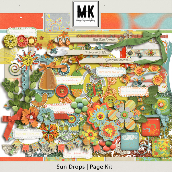 Sun Drops Collection - Page Kit Digital Art - Digital Scrapbooking Kits