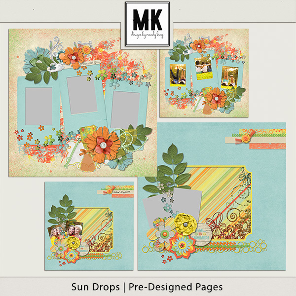Sun Drops Collection - Pre-designed Pages Digital Art - Digital Scrapbooking Kits