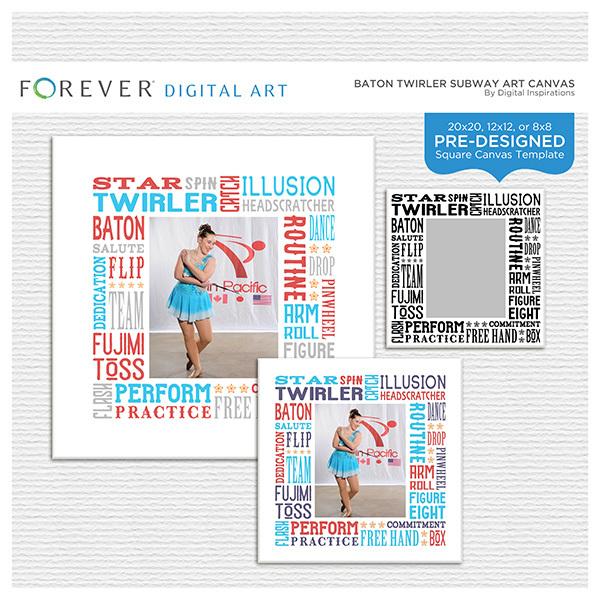 Baton Twirler Subway Art Canvas Digital Art - Digital Scrapbooking Kits