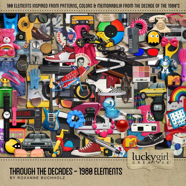 Through The Decades - 1980 Elements Digital Art - Digital Scrapbooking Kits