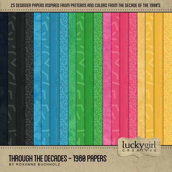 Through The Decades - 1980 Papers Digital Art - Digital Scrapbooking Kits