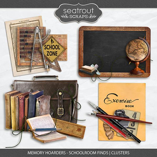 Memory Hoarders - Schoolroom Finds Clusters Digital Art - Digital Scrapbooking Kits