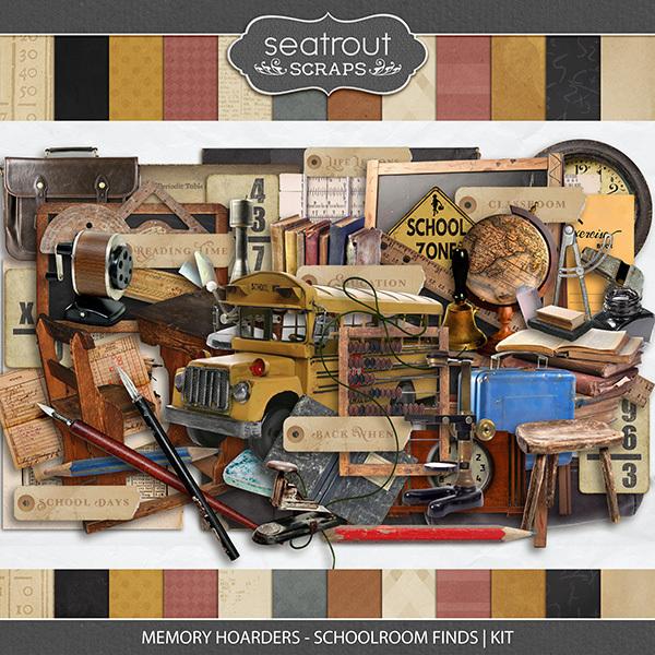 Memory Hoarders - Schoolroom Finds Kit Digital Art - Digital Scrapbooking Kits