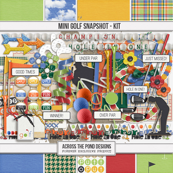 Mini Golf Lovers Snapshot - Page Kit Digital Art - Digital Scrapbooking Kits