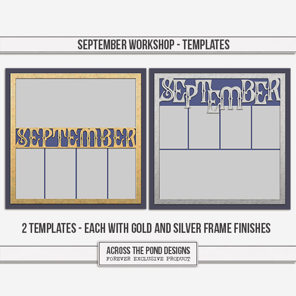 September Workshop - Templates Digital Art - Digital Scrapbooking Kits