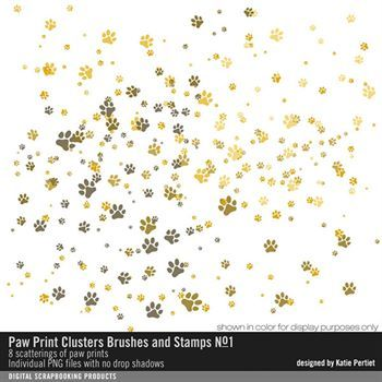 Paw Print Clusters Brushes And Stamps No. 01 Digital Art - Digital Scrapbooking Kits