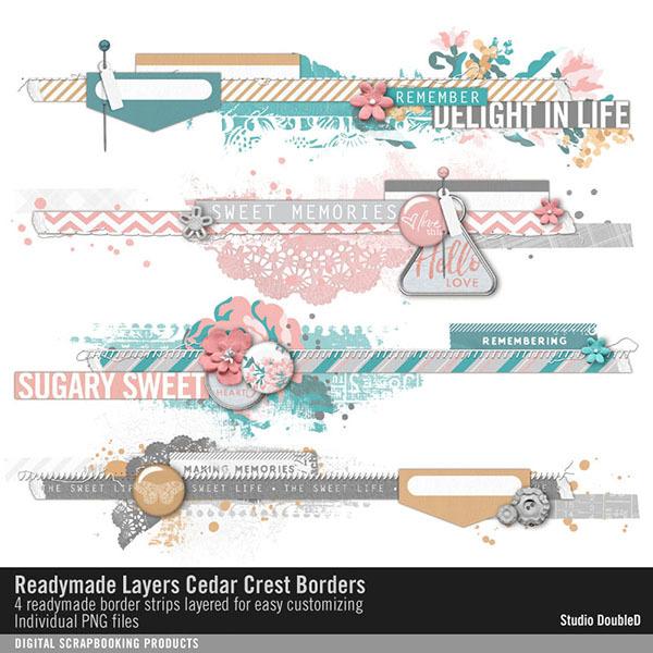 Readymade Layers Cedar Crest Borders No. 01 Digital Art - Digital Scrapbooking Kits