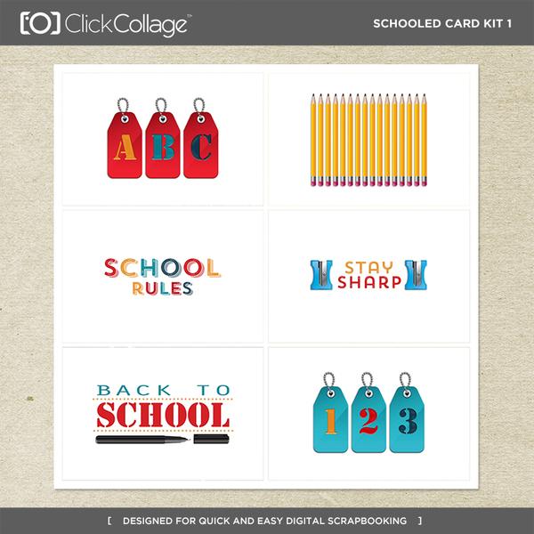 Schooled Card Kit 1 Digital Art - Digital Scrapbooking Kits
