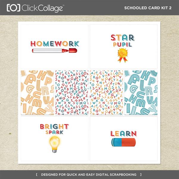 Schooled Card Kit 2 Digital Art - Digital Scrapbooking Kits
