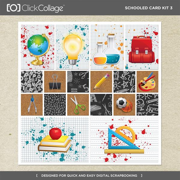 Schooled Card Kit 3 Digital Art - Digital Scrapbooking Kits