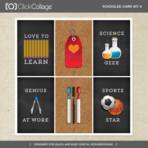 Schooled Card Kit 4 Digital Art - Digital Scrapbooking Kits