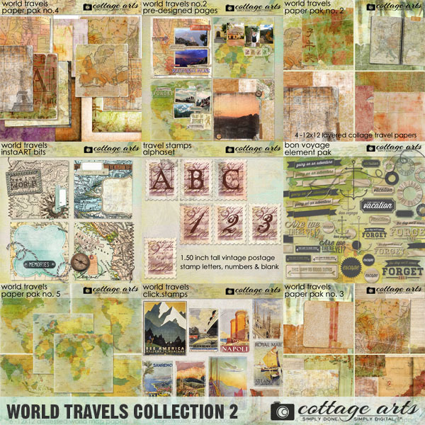 World Travels Collection 2 Digital Art - Digital Scrapbooking Kits