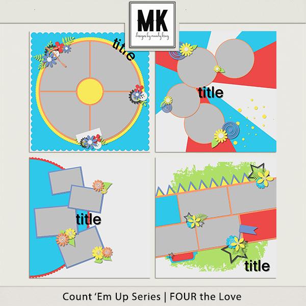 Count 'em Up Templates - Four The Love Digital Art - Digital Scrapbooking Kits